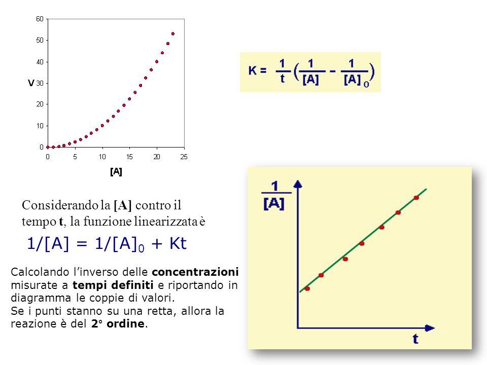 Considerando la [A] contro il tempo t, la funzione linearizzata è